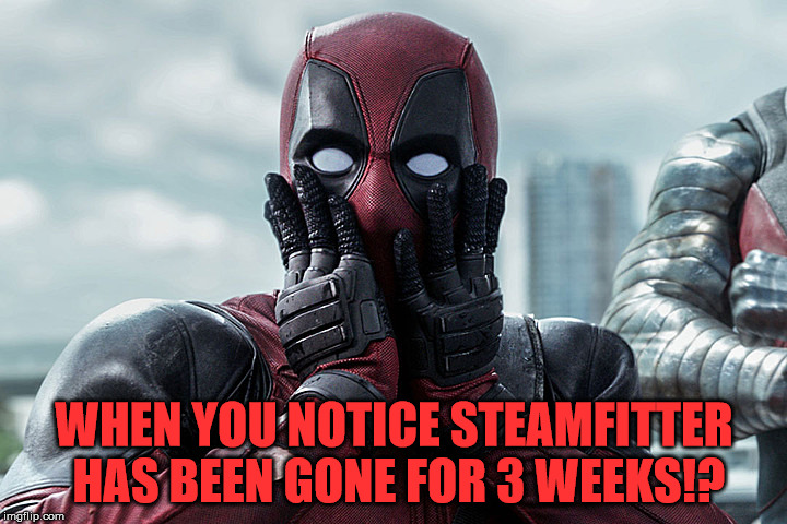 Deadpool - Gasp | WHEN YOU NOTICE STEAMFITTER HAS BEEN GONE FOR 3 WEEKS!? | image tagged in deadpool - gasp | made w/ Imgflip meme maker