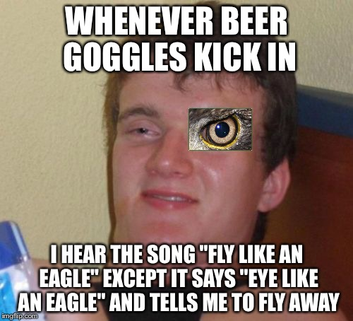 "10 Guy Meme | WHENEVER BEER GOGGLES KICK IN I HEAR THE SONG ""FLY LIKE AN EAGLE"" EXCEPT IT SAYS ""EYE LIKE AN EAGLE"" AND TELLS ME TO FLY AWAY 