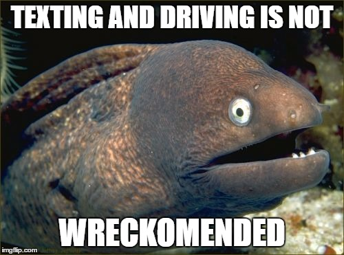 Bad Joke Eel Meme | TEXTING AND DRIVING IS NOT WRECKOMENDED | image tagged in memes,bad joke eel | made w/ Imgflip meme maker