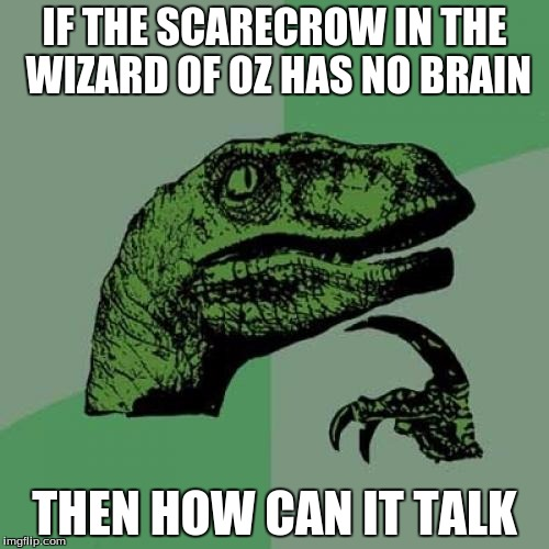 Philosoraptor Meme | IF THE SCARECROW IN THE WIZARD OF OZ HAS NO BRAIN THEN HOW CAN IT TALK | image tagged in memes,philosoraptor | made w/ Imgflip meme maker