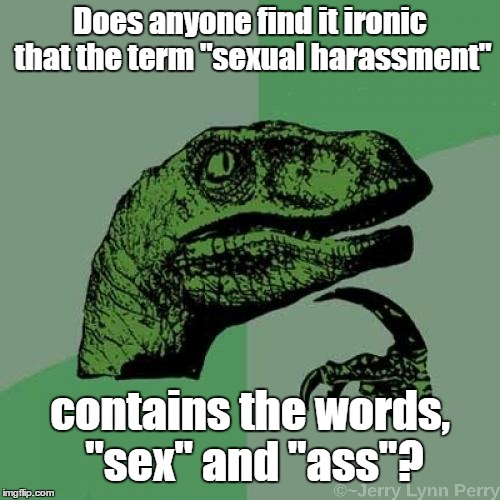 "Beautiful irony... | Does anyone find it ironic that the term ""sexual harassment"" contains the words, ""sex"" and ""ass""? 