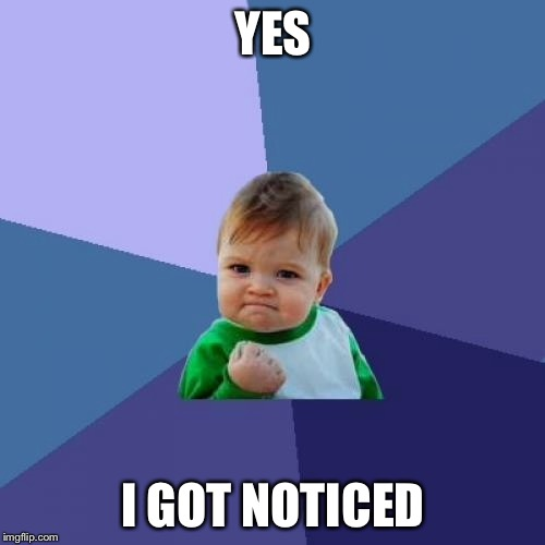 Success Kid Meme | YES I GOT NOTICED | image tagged in memes,success kid | made w/ Imgflip meme maker