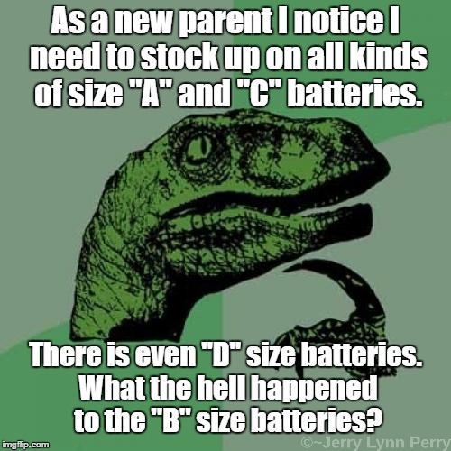 "Batteries is a mystery | As a new parent I notice I need to stock up on all kinds of size ""A"" and ""C"" batteries. There is even ""D"" size batteries. What the hell happ 