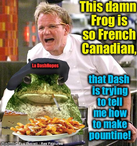 "I don't believe I've ever asked Dash if he can make Pountine? Oh well!   It's ""Make Fun of Frogs Week"" on ImgFlip!  