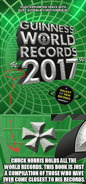 World Records???? (a chuck norris week history fact) | CHUCK NORRIS HOLDS ALL THE WORLD RECORDS. THIS BOOK IS JUST A COMPILATION OF THOSE WHO HAVE EVER COME CLOSEST TO HIS RECORDS. | image tagged in chuck norris week,chuck norris,guinness world record,world record | made w/ Imgflip meme maker