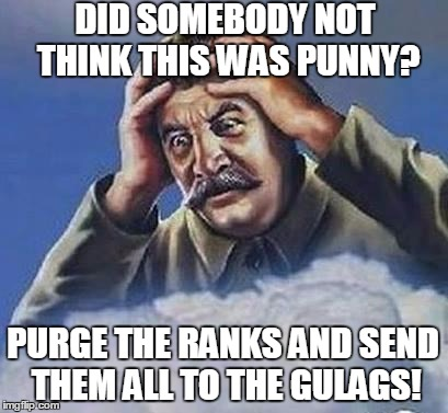 DID SOMEBODY NOT THINK THIS WAS PUNNY? PURGE THE RANKS AND SEND THEM ALL TO THE GULAGS! | made w/ Imgflip meme maker