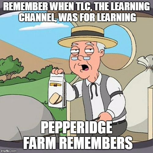 Pepperidge Farm Remembers |  REMEMBER WHEN TLC, THE LEARNING CHANNEL, WAS FOR LEARNING; PEPPERIDGE FARM REMEMBERS | image tagged in memes,pepperidge farm remembers | made w/ Imgflip meme maker