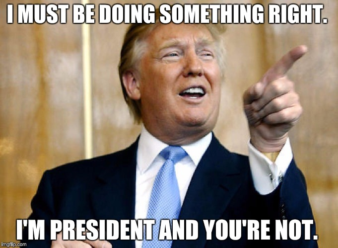Must be doing something Right | I MUST BE DOING SOMETHING RIGHT. I'M PRESIDENT AND YOU'RE NOT. | image tagged in trump,donald trump,president | made w/ Imgflip meme maker