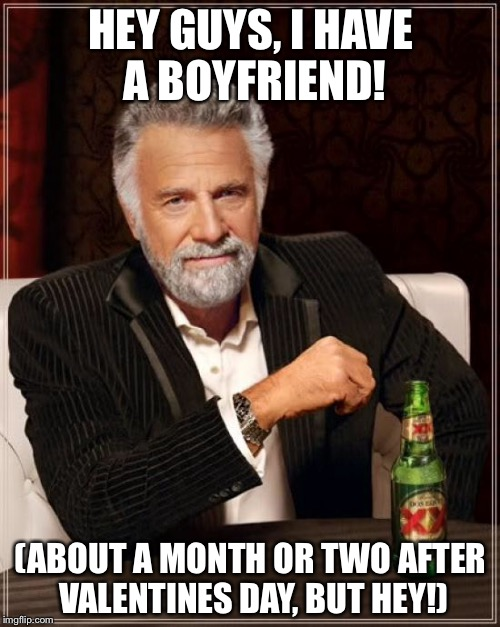 The Most Interesting Man In The World Meme | HEY GUYS, I HAVE A BOYFRIEND! (ABOUT A MONTH OR TWO AFTER VALENTINES DAY, BUT HEY!) | image tagged in memes,the most interesting man in the world | made w/ Imgflip meme maker