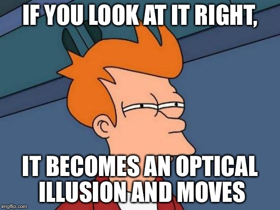 Futurama Fry Meme | IF YOU LOOK AT IT RIGHT, IT BECOMES AN OPTICAL ILLUSION AND MOVES | image tagged in memes,futurama fry | made w/ Imgflip meme maker