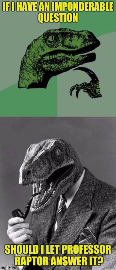 IF I HAVE AN IMPONDERABLE QUESTION SHOULD I LET PROFESSOR RAPTOR ANSWER IT? | made w/ Imgflip meme maker