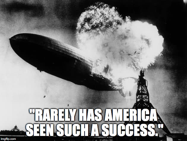 "A literal quote from Trump's latest campaign ad. | ""RARELY HAS AMERICA SEEN SUCH A SUCCESS."" 