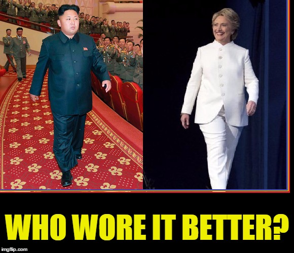 That Look When You Know You Won... something | WHO WORE IT BETTER? | image tagged in vince vance,memes,kim jong un,hillary clinton,fashion,runway fashion | made w/ Imgflip meme maker