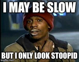 Y'all Got Any More Of That Meme | I MAY BE SLOW BUT I ONLY LOOK STOOPID | image tagged in memes,yall got any more of | made w/ Imgflip meme maker