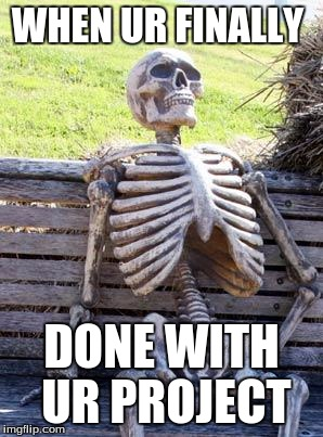 Waiting Skeleton Meme | WHEN UR FINALLY DONE WITH UR PROJECT | image tagged in memes,waiting skeleton | made w/ Imgflip meme maker