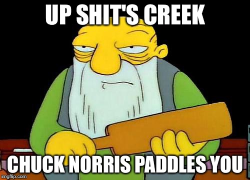 UP SHIT'S CREEK CHUCK NORRIS PADDLES YOU | image tagged in memes,funny,that's a paddlin',chuck norris | made w/ Imgflip meme maker