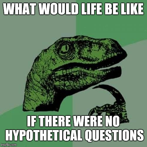 Philosoraptor Meme | WHAT WOULD LIFE BE LIKE IF THERE WERE NO HYPOTHETICAL QUESTIONS | image tagged in memes,philosoraptor | made w/ Imgflip meme maker