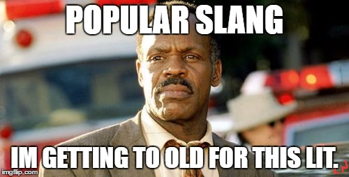 Lethal Weapon Danny Glover | POPULAR SLANG IM GETTING TO OLD FOR THIS LIT. | image tagged in memes,lethal weapon danny glover | made w/ Imgflip meme maker