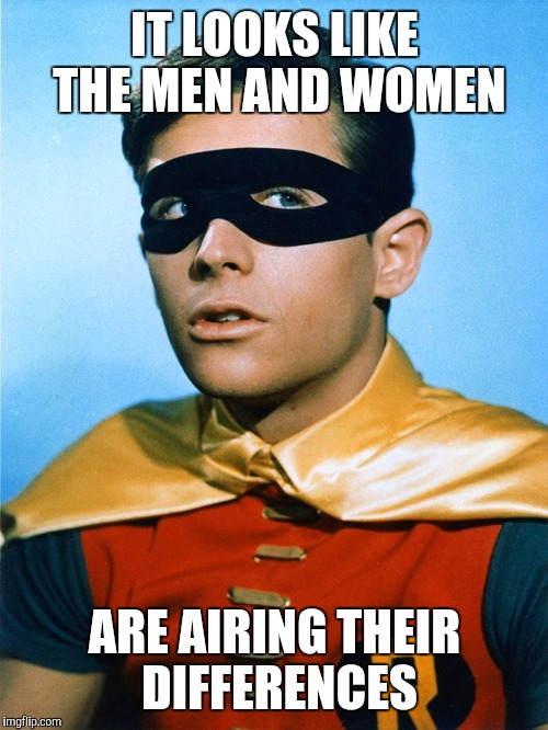 Burt Ward as Robin | IT LOOKS LIKE THE MEN AND WOMEN ARE AIRING THEIR DIFFERENCES | image tagged in burt ward as robin | made w/ Imgflip meme maker