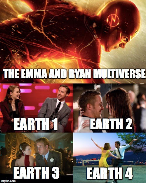The Emma and Ryan multiverse | image tagged in memes,emma stone,ryan gosling,funny memes,the flash,funny photo | made w/ Imgflip meme maker