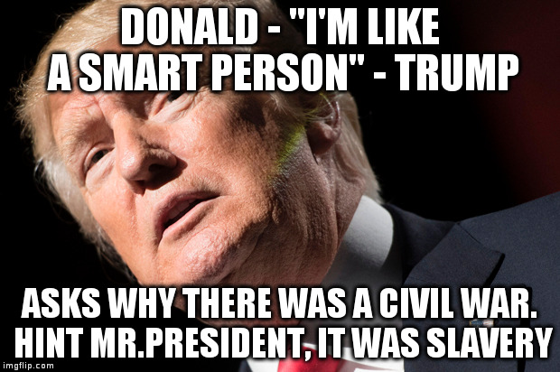 "Pick-up a book every now and then Mr.President | DONALD - ""I'M LIKE A SMART PERSON"" - TRUMP ASKS WHY THERE WAS A CIVIL WAR. HINT MR.PRESIDENT, IT WAS SLAVERY 
