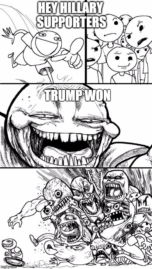 Hey Internet Meme | HEY HILLARY SUPPORTERS TRUMP WON | image tagged in memes,hey internet | made w/ Imgflip meme maker