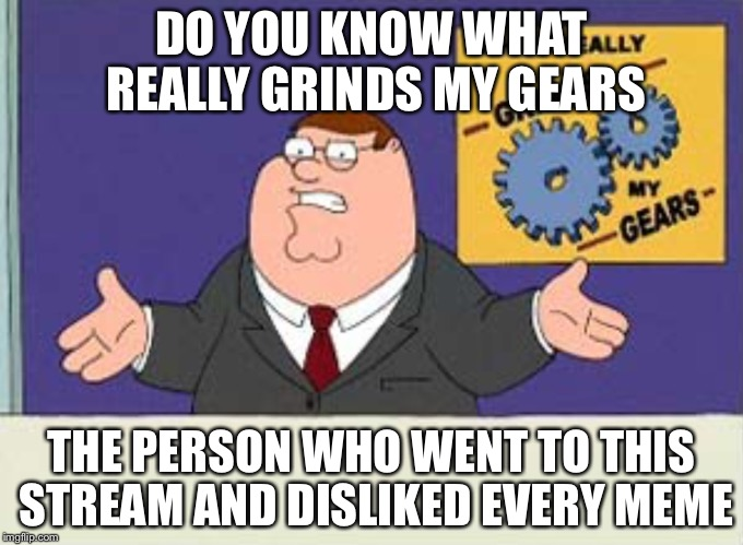 Grinds my gears | DO YOU KNOW WHAT REALLY GRINDS MY GEARS THE PERSON WHO WENT TO THIS STREAM AND DISLIKED EVERY MEME | image tagged in grinds my gears | made w/ Imgflip meme maker