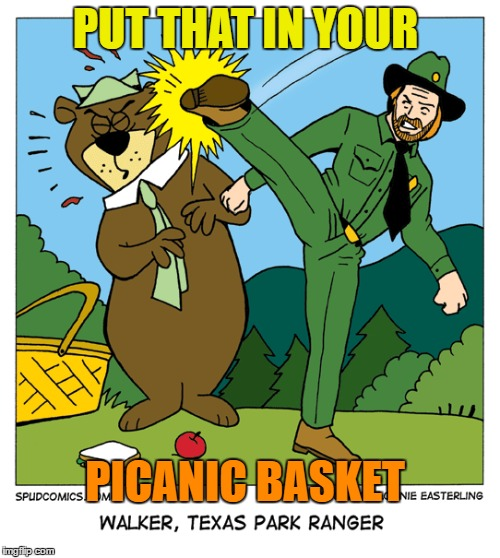 Chuck Norris Week - Walker Texas Park Ranger - ASir_Unknown Event  | PUT THAT IN YOUR PICANIC BASKET | image tagged in chuck norris week,memes,yogi bear,picnic | made w/ Imgflip meme maker