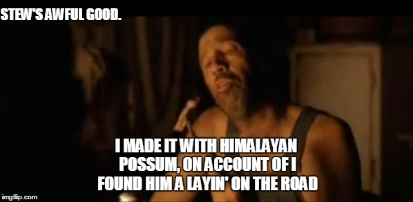 STEW'S AWFUL GOOD. I MADE IT WITH HIMALAYAN POSSUM, ON ACCOUNT OF I FOUND HIM A LAYIN' ON THE ROAD | made w/ Imgflip meme maker