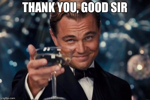 Leonardo Dicaprio Cheers Meme | THANK YOU, GOOD SIR | image tagged in memes,leonardo dicaprio cheers | made w/ Imgflip meme maker