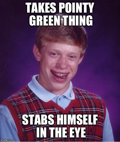 Bad Luck Brian Meme | TAKES POINTY GREEN THING STABS HIMSELF IN THE EYE | image tagged in memes,bad luck brian | made w/ Imgflip meme maker