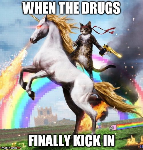 Welcome To The Internets | WHEN THE DRUGS FINALLY KICK IN | image tagged in memes,welcome to the internets | made w/ Imgflip meme maker