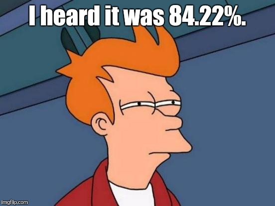 Futurama Fry Meme | I heard it was 84.22%. | image tagged in memes,futurama fry | made w/ Imgflip meme maker