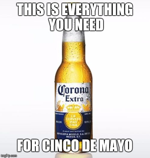 Corona Meme | THIS IS EVERYTHING YOU NEED FOR CINCO DE MAYO | image tagged in memes,corona | made w/ Imgflip meme maker