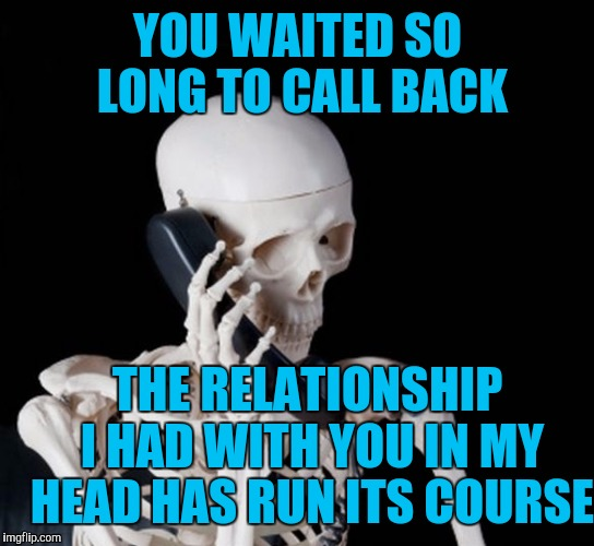 When you ask for my number and don't call  |  YOU WAITED SO LONG TO CALL BACK; THE RELATIONSHIP I HAD WITH YOU IN MY HEAD HAS RUN ITS COURSE | image tagged in skeleton on phone | made w/ Imgflip meme maker