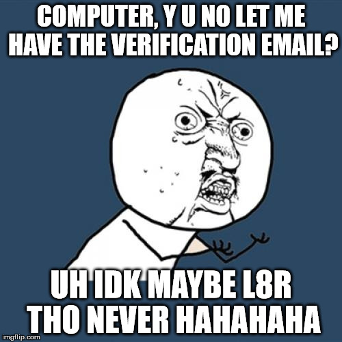 Y U No Meme | COMPUTER, Y U NO LET ME HAVE THE VERIFICATION EMAIL? UH IDK MAYBE L8R THO NEVER HAHAHAHA | image tagged in memes,y u no | made w/ Imgflip meme maker