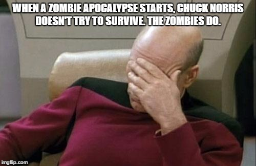 Captain Picard Facepalm Meme | WHEN A ZOMBIE APOCALYPSE STARTS, CHUCK NORRIS DOESN'T TRY TO SURVIVE. THE ZOMBIES DO. | image tagged in memes,captain picard facepalm | made w/ Imgflip meme maker