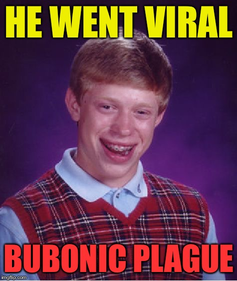 Bad Luck Brian Meme | HE WENT VIRAL BUBONIC PLAGUE | image tagged in memes,bad luck brian | made w/ Imgflip meme maker