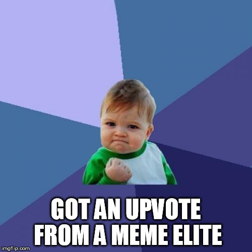 Success Kid Meme | GOT AN UPVOTE FROM A MEME ELITE | image tagged in memes,success kid | made w/ Imgflip meme maker