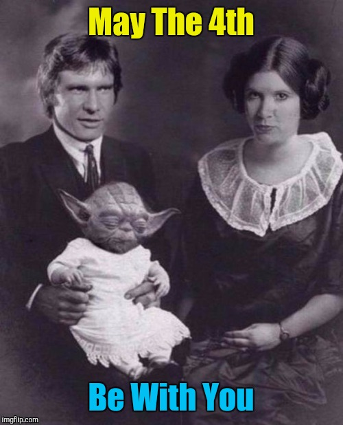 Solo Family Portrait. (Poor little Yoda was so tired that day) | May The 4th Be With You | image tagged in may the 4th,star wars,star wars yoda,yoda,han solo | made w/ Imgflip meme maker