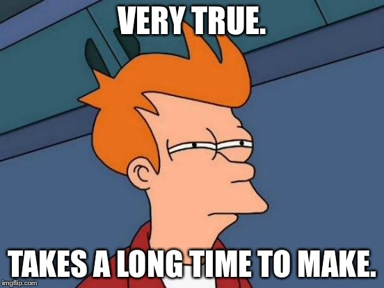 Futurama Fry Meme | VERY TRUE. TAKES A LONG TIME TO MAKE. | image tagged in memes,futurama fry | made w/ Imgflip meme maker