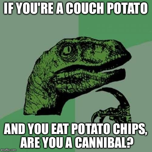 Philosoraptor Meme | IF YOU'RE A COUCH POTATO AND YOU EAT POTATO CHIPS, ARE YOU A CANNIBAL? | image tagged in memes,philosoraptor | made w/ Imgflip meme maker