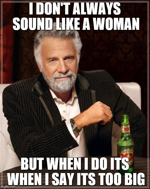 The Most Interesting Man In The World Meme | I DON'T ALWAYS SOUND LIKE A WOMAN BUT WHEN I DO ITS WHEN I SAY ITS TOO BIG | image tagged in memes,the most interesting man in the world | made w/ Imgflip meme maker