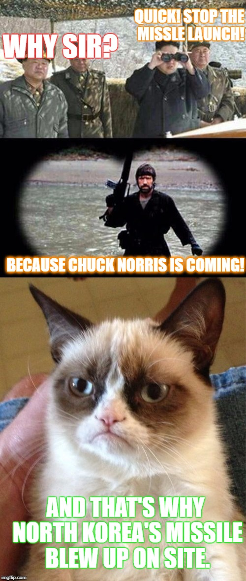 Th truth revealed! The missile killed itself! | QUICK! STOP THE MISSLE LAUNCH! WHY SIR? BECAUSE CHUCK NORRIS IS COMING! AND THAT'S WHY NORTH KOREA'S MISSILE BLEW UP ON SITE. | image tagged in chuck norris,grumpy cat,chuck norris week | made w/ Imgflip meme maker