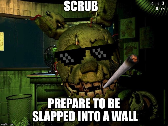 Mlg Springtrap |  SCRUB; PREPARE TO BE SLAPPED INTO A WALL | image tagged in mlg springtrap | made w/ Imgflip meme maker
