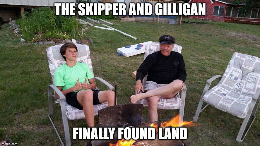 THE SKIPPER AND GILLIGAN FINALLY FOUND LAND | image tagged in swank | made w/ Imgflip meme maker