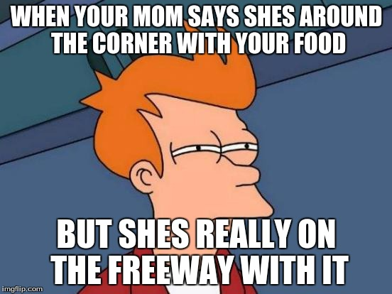 Futurama Fry Meme | WHEN YOUR MOM SAYS SHES AROUND THE CORNER WITH YOUR FOOD BUT SHES REALLY ON THE FREEWAY WITH IT | image tagged in memes,futurama fry | made w/ Imgflip meme maker