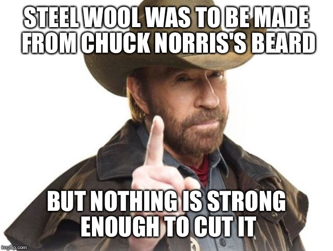 Chuck Norris doesn't shave, he controls the length with his thoughts | STEEL WOOL WAS TO BE MADE FROM CHUCK NORRIS'S BEARD BUT NOTHING IS STRONG ENOUGH TO CUT IT | image tagged in chuck norris,memes | made w/ Imgflip meme maker
