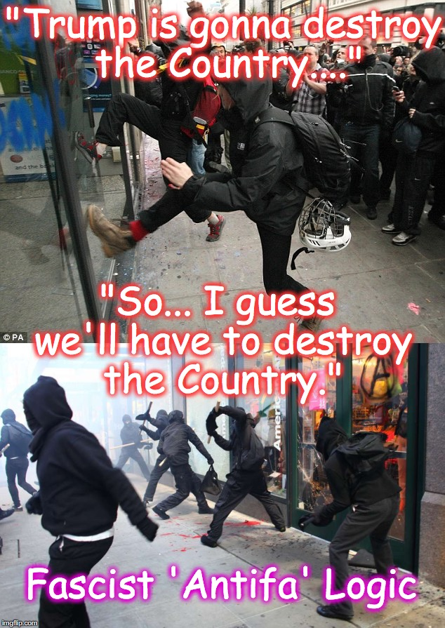 "'Antifa' ARE Fascists | ""Trump is gonna destroy the Country...."" ""So... I guess we'll have to destroy the Country."" Fascist 'Antifa' Logic 