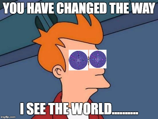 Futurama Fry Meme | YOU HAVE CHANGED THE WAY I SEE THE WORLD.......... | image tagged in memes,futurama fry | made w/ Imgflip meme maker